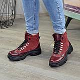 Ботинки женские в спортивном стиле, на шнорувке, натуральная кожа и нубук бордового цвета, фото 4