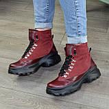 Ботинки женские в спортивном стиле, на шнорувке, натуральная кожа и нубук бордового цвета, фото 5