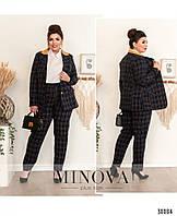 Женский красивый, модный, деловой костюм - двойка, пиджак + брюки. Большого размера 50,52,54,56 в клетку