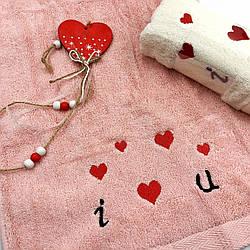 Махровые полотенца «Love is» 35х70 см - в наборе 2шт
