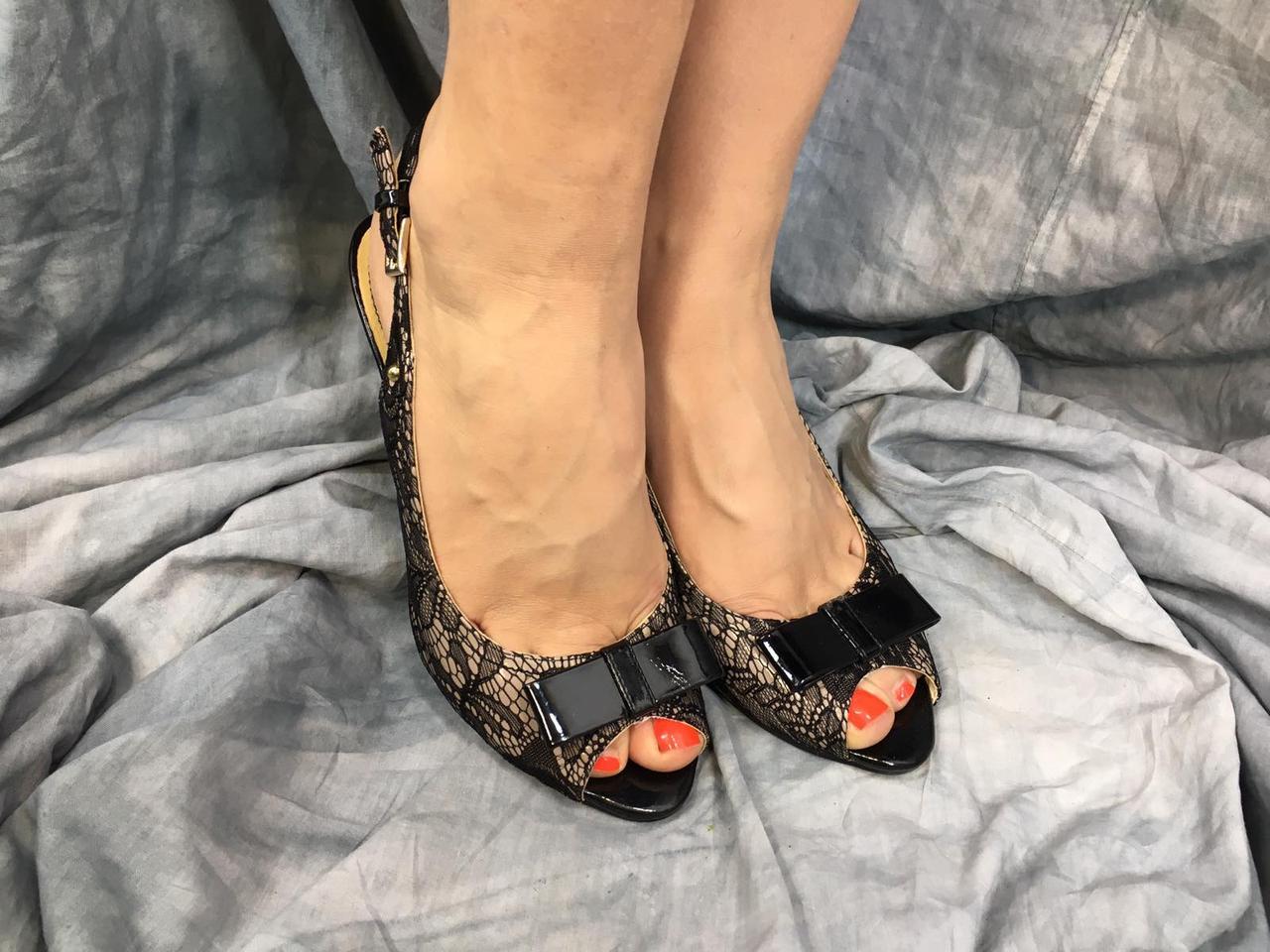 Женские туфли летние с имитацией кружева MP 752163-7С черные 35-40 ОПТ
