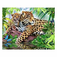 """Алмазная мозаика """"Леопарды"""", картина стразами 40*30см"""