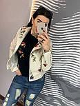 Женская куртка-косуха из эко-кожи с вышивкой, фото 2