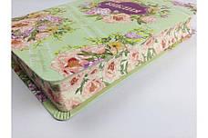 Библия среднего формата (салатная с цветами, кожзам, цветочный обрез, без указателей, без замка, 14х20), фото 2