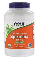 Спирулина сертифицированная органическая , 500 мг, 500 таблеток, Now Foods, США