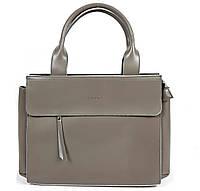 Большая кожаная сумка Светло-Серея формата А4, Galanty