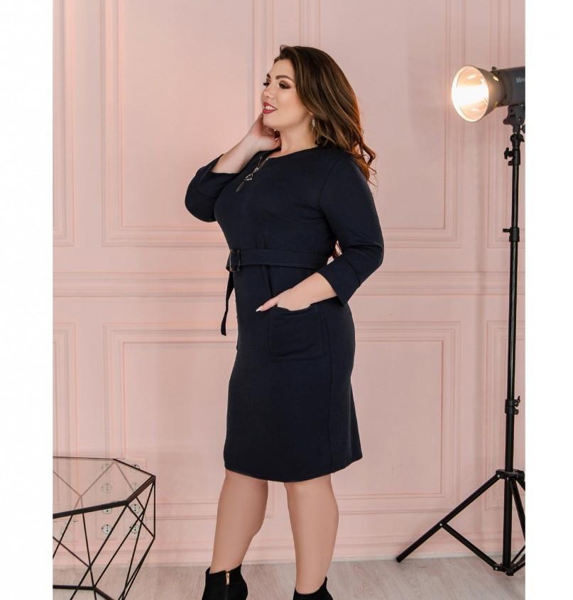Приталенное женское платье батал синее