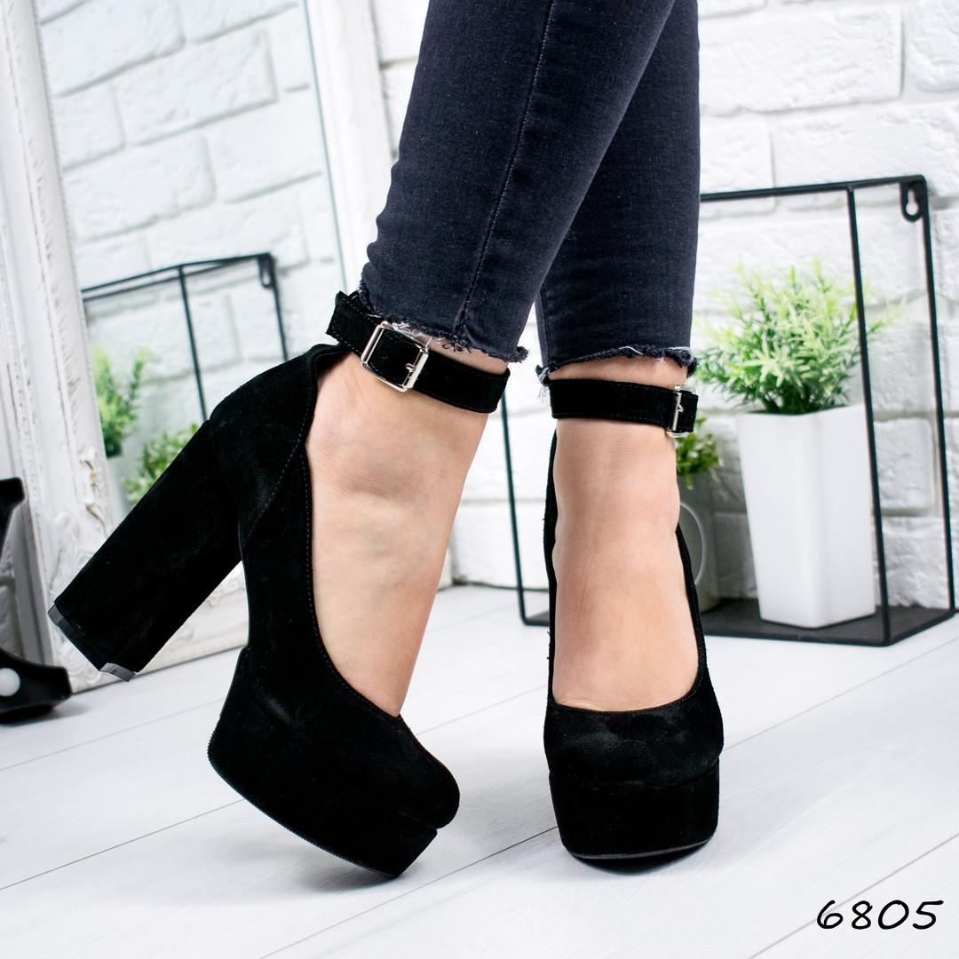 Туфли женские черные натуральная замша  с ремешком на высоком каблуке и платформе