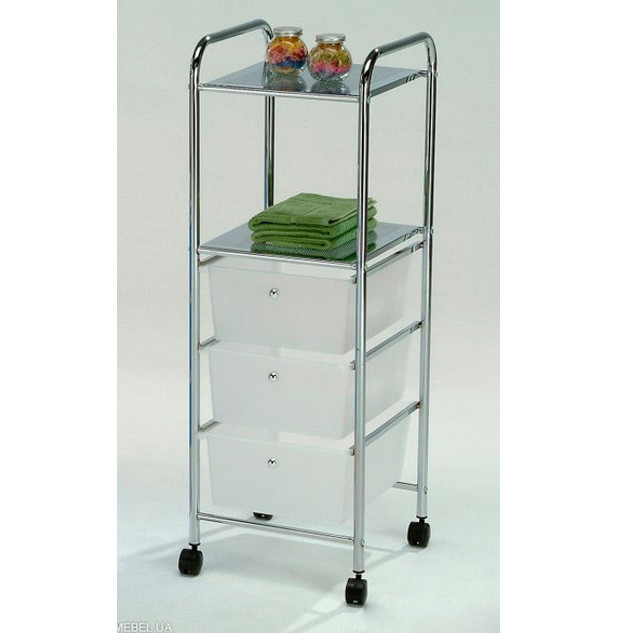 Столик сервировочный-тележка с ящиками Onder Metal BS-1054-3 Хром