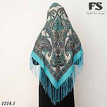 Бирюзовый павлопосадский шерстяной платок Валентина, фото 3