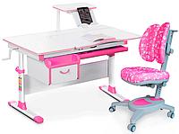 Комплект Evo-kids Evo 40 PN Pink (арт. Evo-40 PN + кресло Y-115 APK) /(стол+ящик+полка+кресло)/ белая столешни