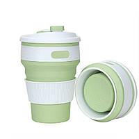 Складная силиконовая чашка Collapsible. Зеленая