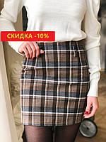 Женская юбка в клетку коричневого цвета