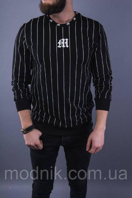 Мужской прикольный свитшот в полосочку (черный) - Турция