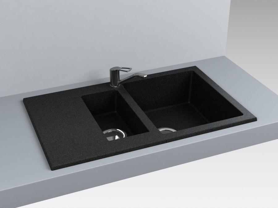 Кухонная мойка из искусственного камня 78*49*20 см Miraggio LaPAS черный