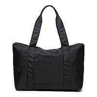 Жіноча дорожня сумка з кріпленням на ручку валізи. Чорна в горох