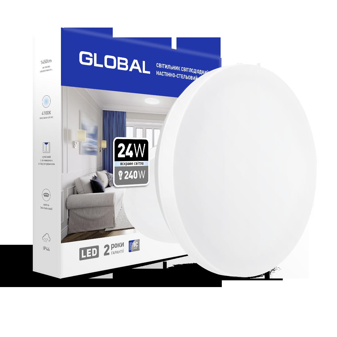 Накладний світильник GLOBAL 24W 4100К (захист IP44) коло