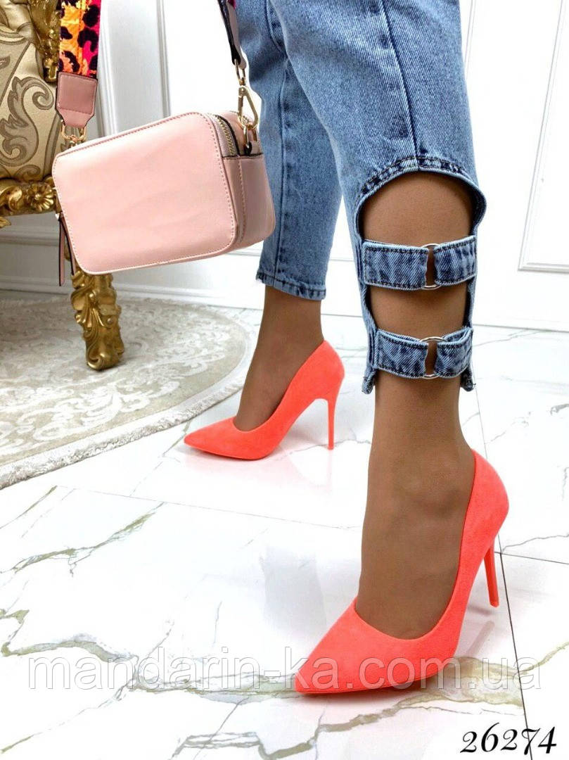 Туфли  женские лодочки оранжевые  шпилька  10,5 см
