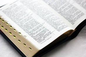 Біблія 13х19 (чорна з червоною смужкою, шкірзам, золото, індекси, блискавка), фото 2