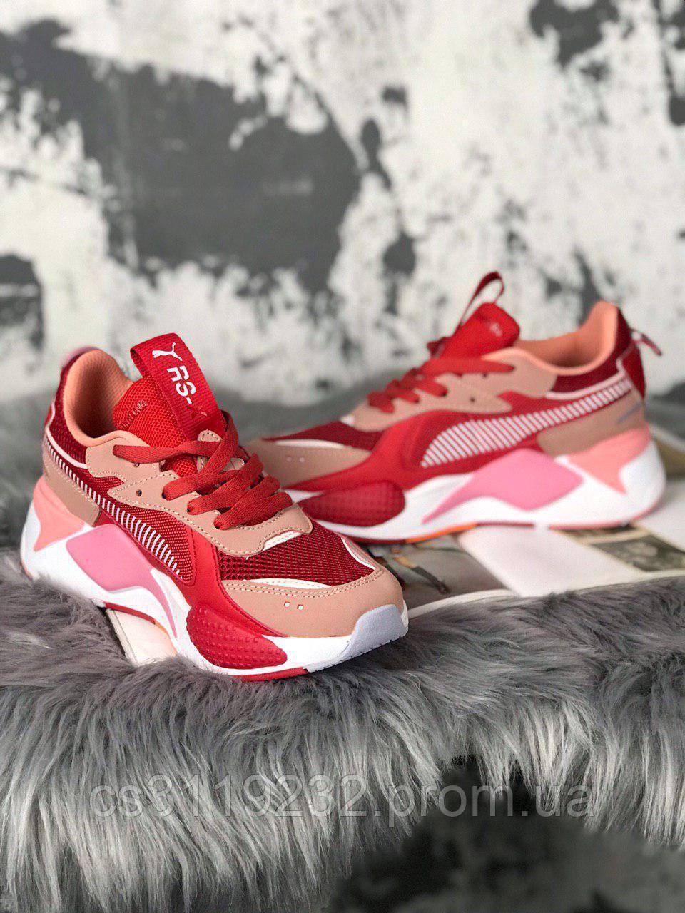 Женские кроссовки Puma Rs-x Toys Bright Peach Red (белый/персиковый/красный)