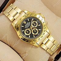 Часы наручные мужские Rolex Quartz Daytona Men Gold/Black