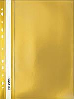 """Папка-скоросшиватель А4 Economix Light с перфорацией, фактура """"Апельсин"""", желтая"""