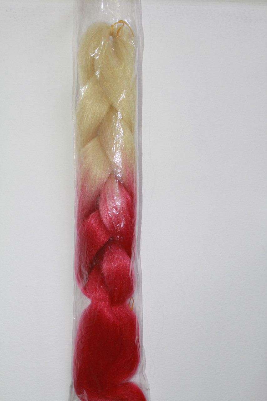 Канекалон омбре для плетения кос бело розовый