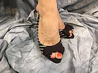 Женские туфли летние MP 752163 - 5А черные с серебром 35-40 ОПТ