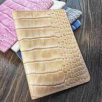 Обложка для паспорта из натуральной кожи с принтом крокодила
