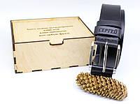 Кожаный ремень с гравировкой и бесплатная деревянная коробка BT-40