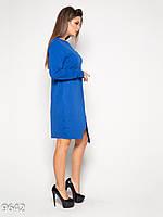 Свободное платье до колен с имитацией запаха (синее)