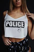 Новинка 2020! Шелковая пижама полиция Police. Подарок на 14 февраля. Ночная сорочка