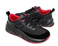 Модные кроссовки черные с красными вставками