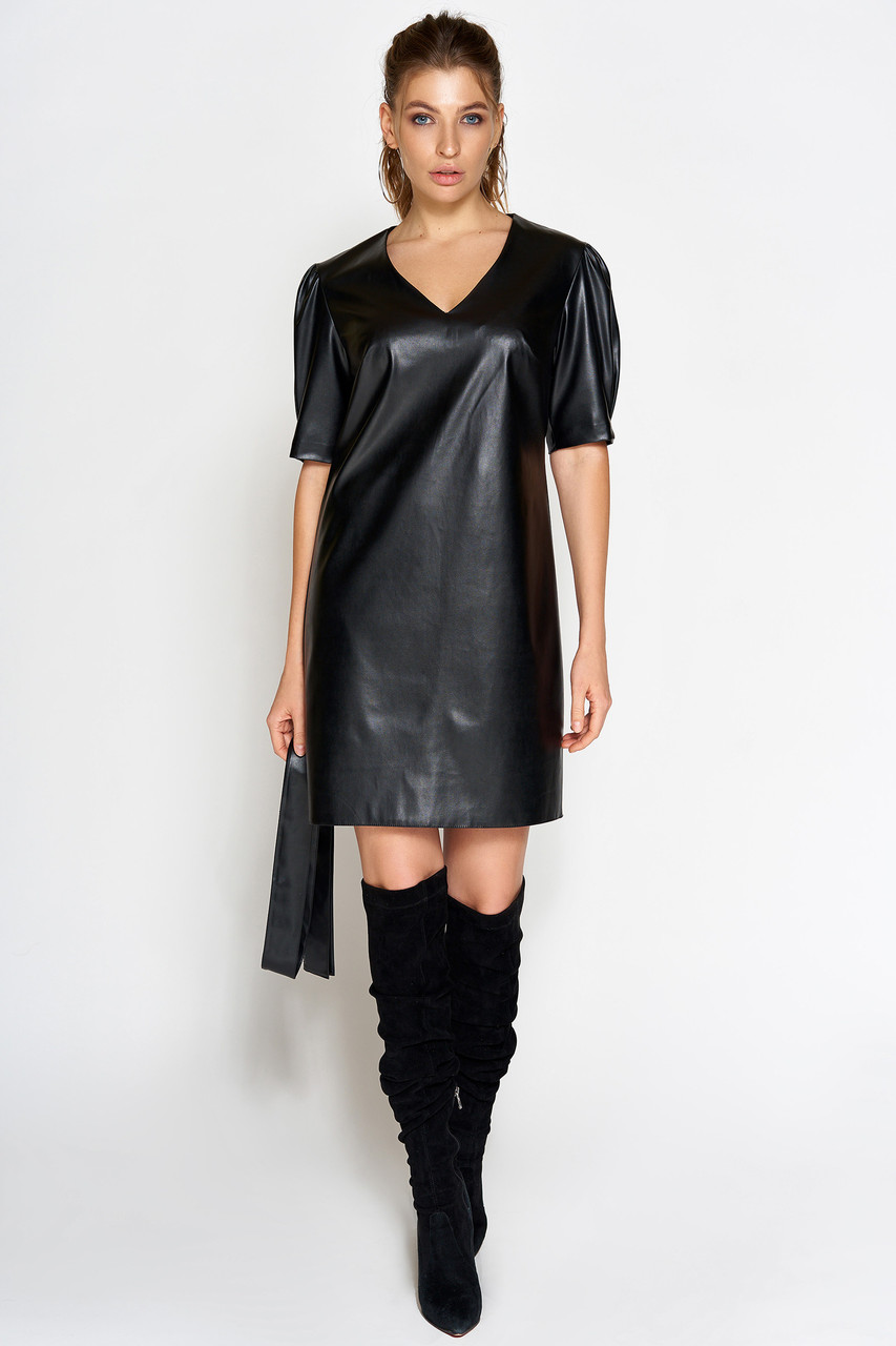 черное платье с коротким рукавом купить