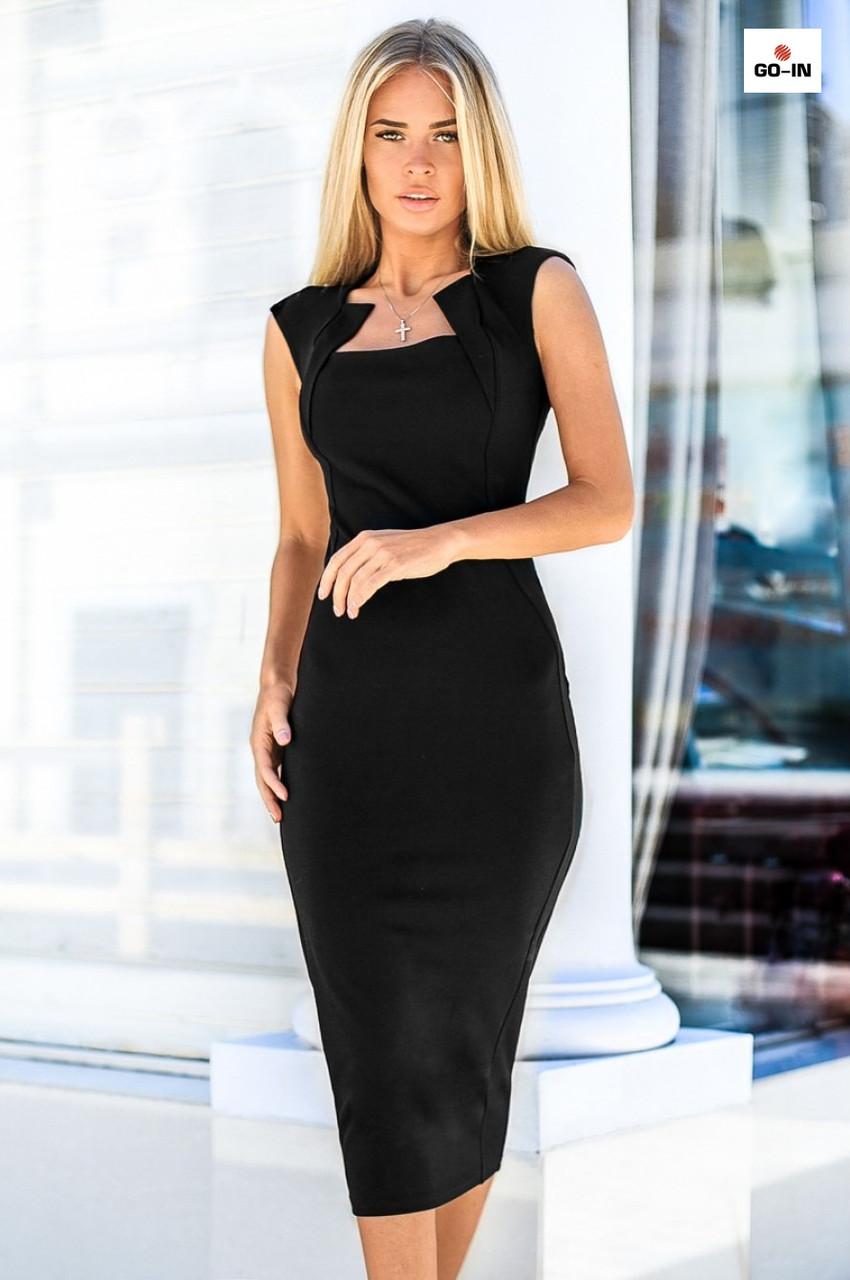 Женское платье футляр облегающие длинные черное