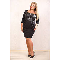 Стильное трикотажное платье с кожаным корсетом (эко кожа) и молнией на груди, черное, большого размера 48-72