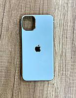 Чехол для iPhone 11 Pro Max силиконовый глянец с логотипом, Голубой, фото 1