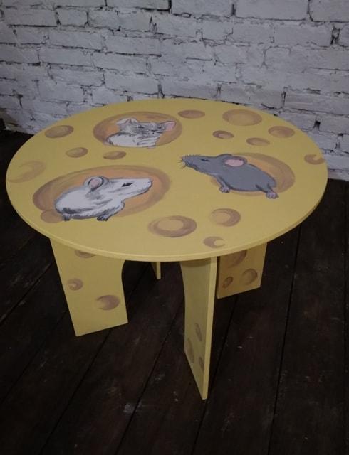 """Стіл дитячий круглий  з малюнком """"Мишки в сирі"""". АКЦІЯ -25% до 03.04.20"""