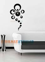 Декор зеркальный пластик часы кружки черные