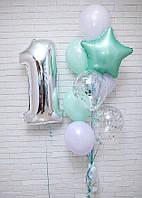 Набор  из 9-ти гелиевых шаров на первый День Рождения