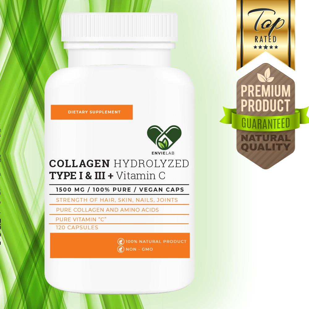 """Колаген + Вітамін З """"1500 mg"""" для суглобів і зв'язок (нігтів, волосся, шкіри) Envie Lab (120 капсул)"""