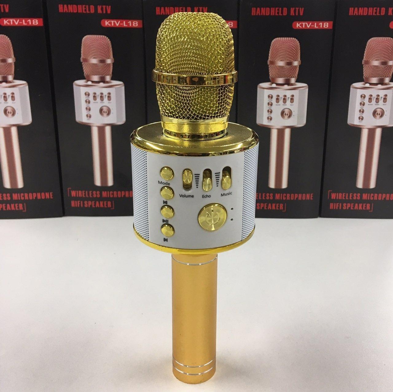 Беспроводной аккумуляторный караоке микрофон Wster  Bluetooth 25 см Золотой (KTV-L18)