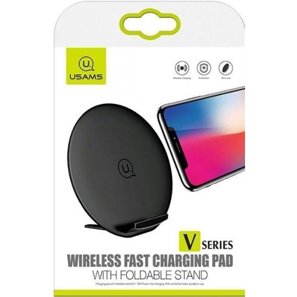 Бездротове зарядний пристрій Usams US-CD33 Wireless Fast Charging Pad with Foldable Stand V Series Black