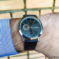Часы мужские в стиле Tissot. Мужские наручные часы черного цвета. Часы с черным циферблатом Годинник чоловічий