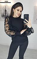 Красивая кофточка с кружевными рукавами черный
