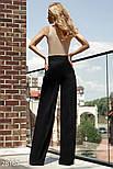 Эффектные женские брюки-палаццо с высокой посадкой черные, фото 4