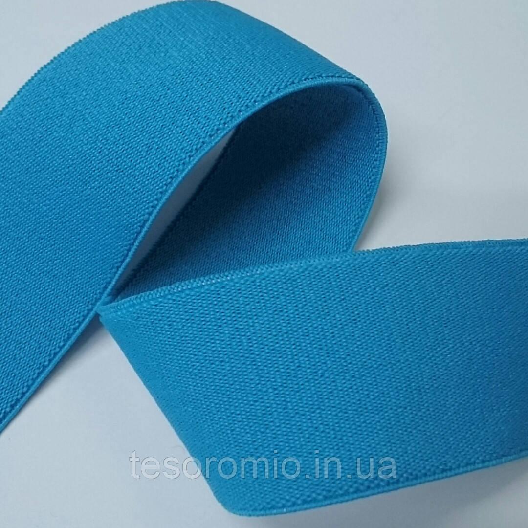Резинка гладкая, мягкая, 35 мм. Цвет насыщенный голубой.
