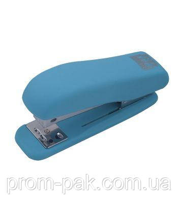 Степлер пластиковий RUBBER TOUCH до 20арк., голубий, фото 2