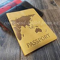 Обкладинка на паспорт з натуральної шкіри карта світу
