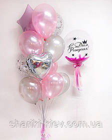 Композиция для девочки на день рождения с шаром Баблс с перьями и связкой шаров в серебристо-розовых тонах
